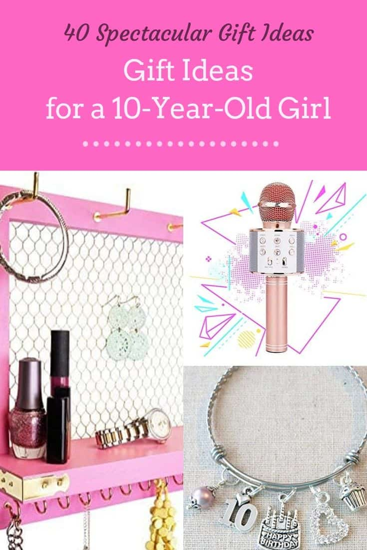 10 year old girl presents pin image