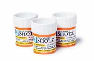 shot glasses shaped like a prescription pills bottle