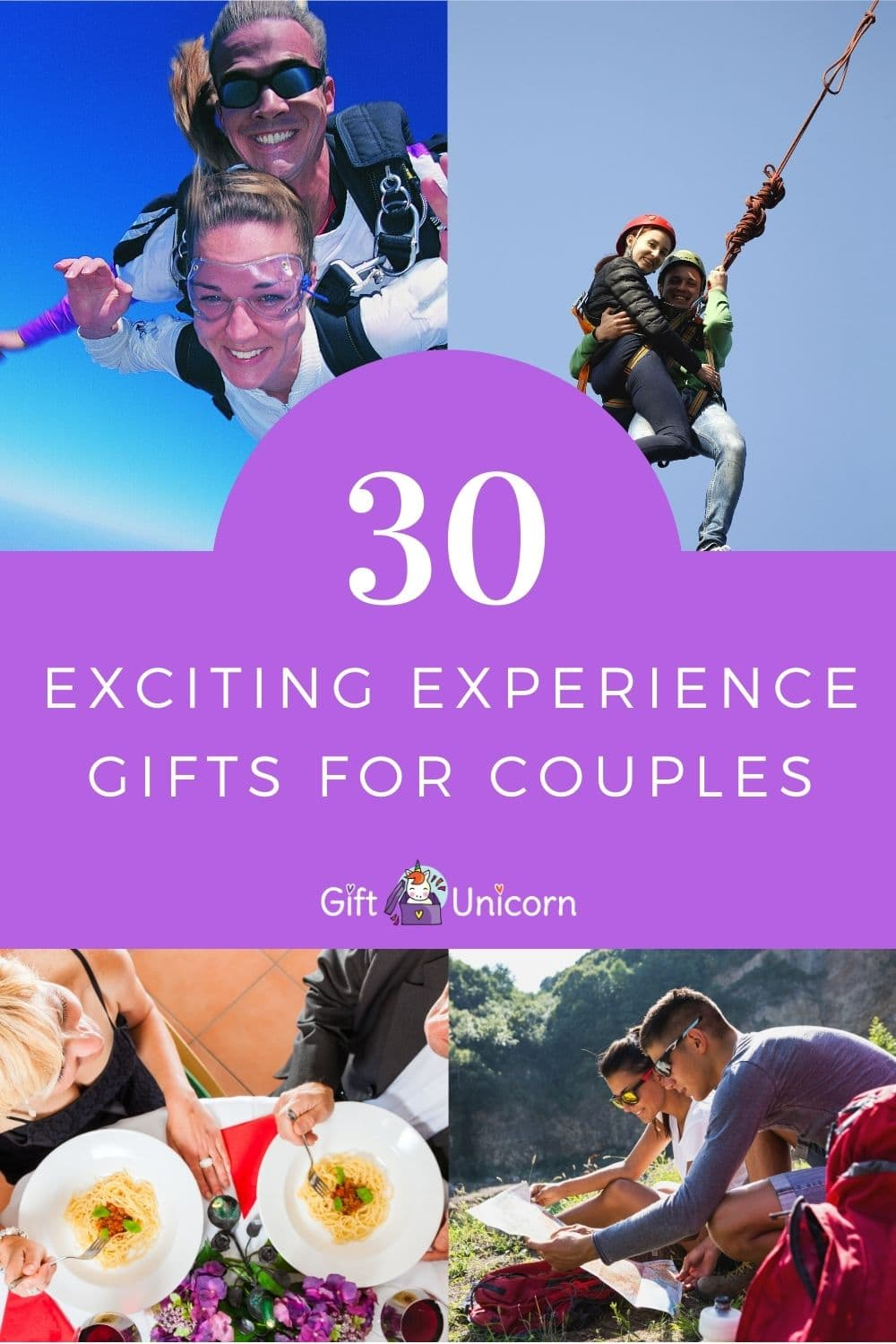 30 experience gift ideas for couples pin image