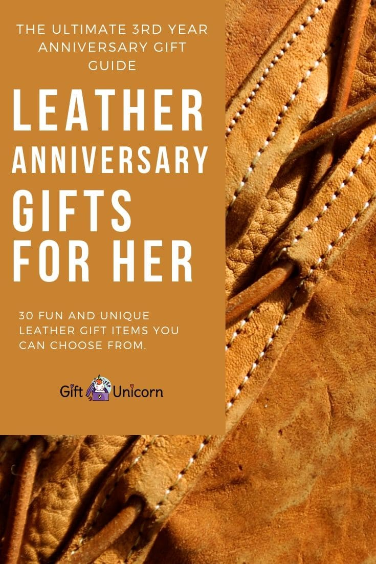 30 leather anniversary gifts for her pin image