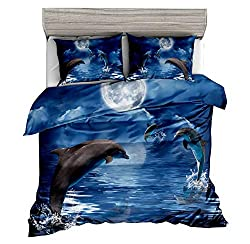 3D dolphin twin size bedding