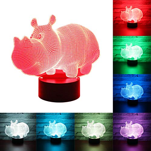 3D hippo color changing lamp