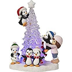 LED lighted christmas tree figurine