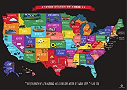 USA scratch off travel map