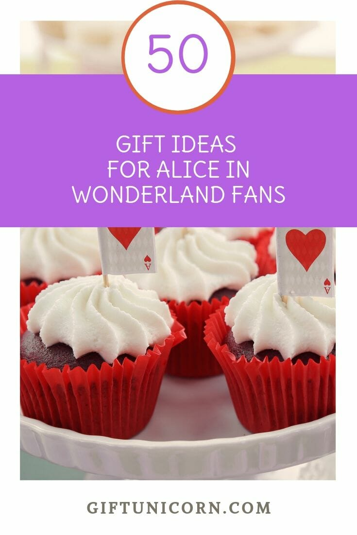 gift ideas for alice in wonderland fans pin image