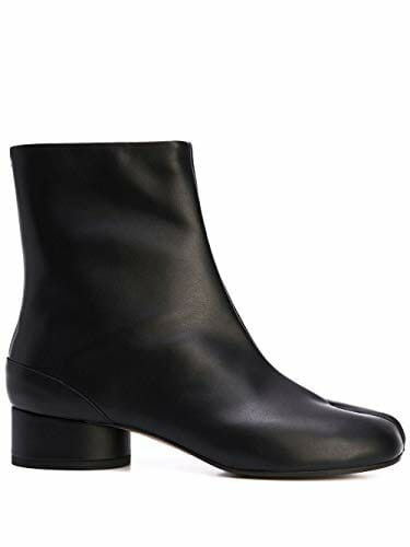 Black leather ankle boots for women