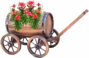 barrel wagon planter