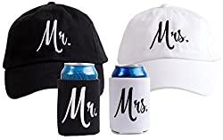 baseball caps and beer holders
