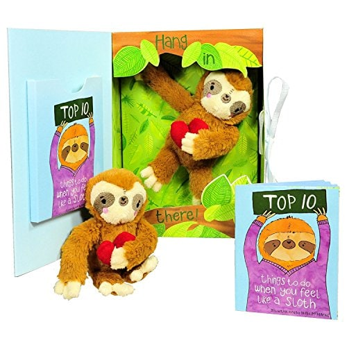 book and plush sloth