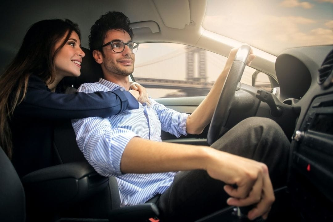 boyfriend and girlfriend in a car