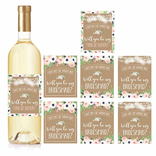 bridesmaid proposal wine bottle stickers