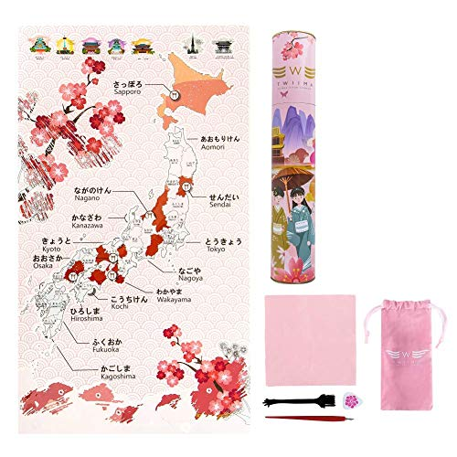 cherry blossom scratch off map