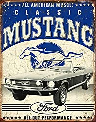 classic ford mustang tin sign