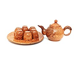 coconut wood teapot with cups
