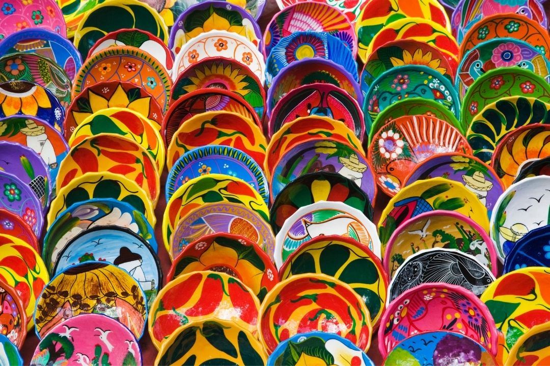 colorful mexican plates