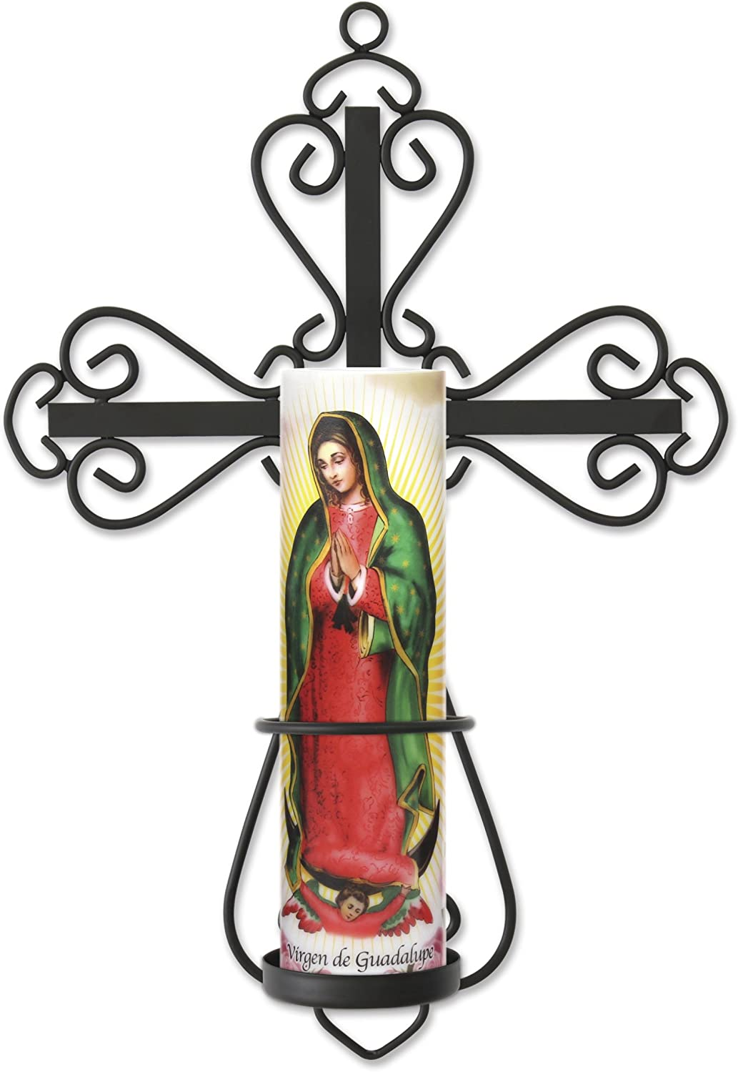 metal cross wall with lady of guadalupe