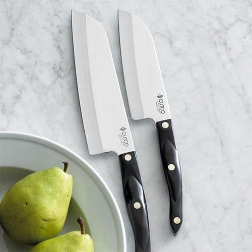 cutco chef knives on a kitchen countertop