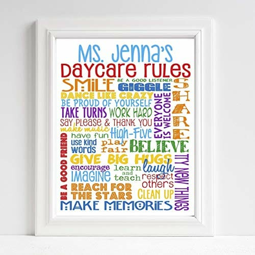 daycare rules art poster