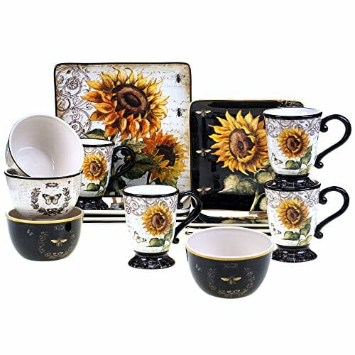 sunflower printed dinnerware set