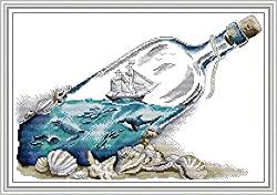 drifting bottle sailboat cross stitch kit