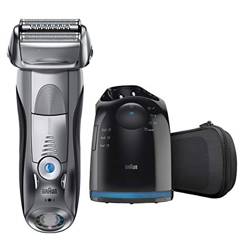 electric foil shaver with clean and charge station
