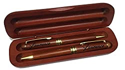 engraved rosewood pen and pencil gift set