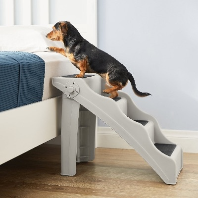 pet steps with a small dog on it