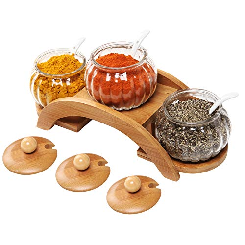 glass spice jars with display rack