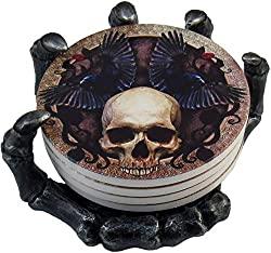 gothic skull beverage coasters