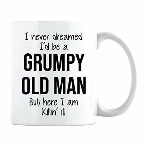 white mug that says grumpy old man