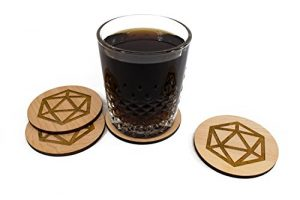 handmade d20 coaster set
