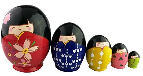 handmade matryoshka kokeshi set