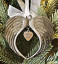 heart angel wings ornament