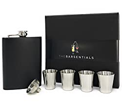 hip flask and shot glasses
