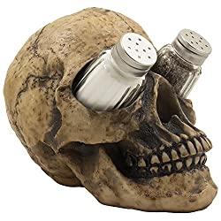 Human skull salt and pepper shaker set