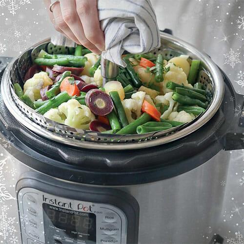 instant pot with steamed vegetables