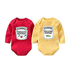 ketchup and mustard red and yellow bodysuit twis set