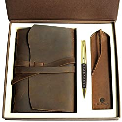 leather bookmark and pen