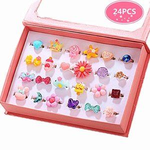little girl jewel rings in box
