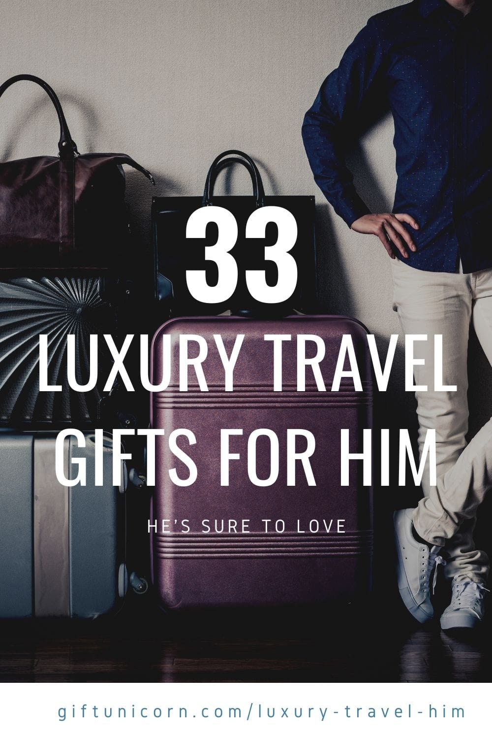 33 luxury travel gifts for him pin image