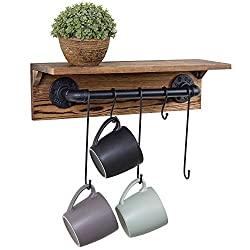 metal pipe and brunt wood rack
