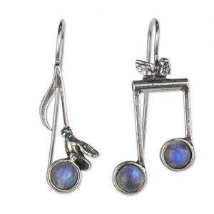 musical note drop earrings