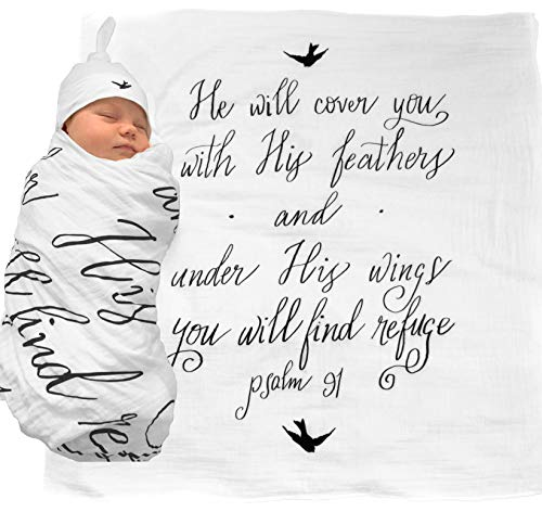 muslin swaddle and baby hat
