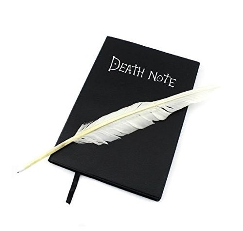 notebook with feather pen