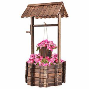 outdoor wooden wishing well