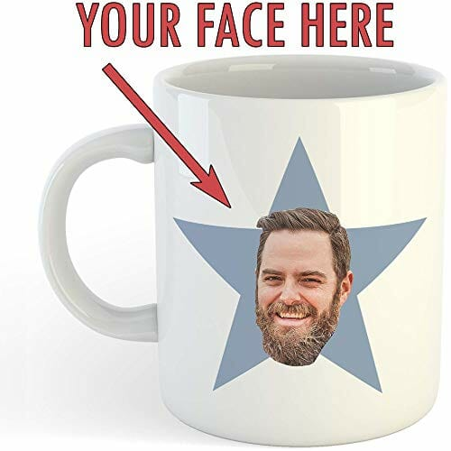 personalized mug with your face printed on it