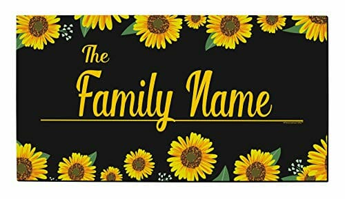 personalized welcome mat with sunflowers