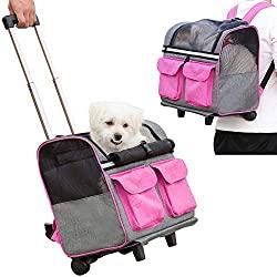 pet rolling carrier backpack