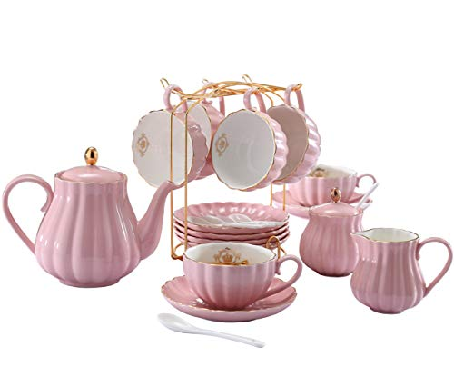 porcelain tea set with teapot