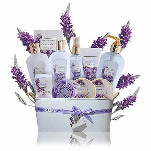purple spa gift basket